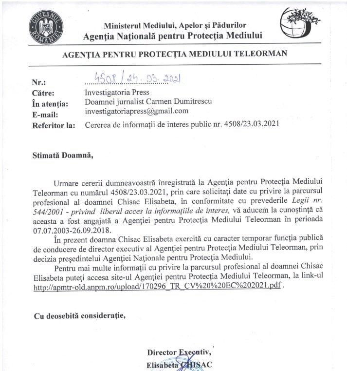 Răspunsul trimis de APM Teleorman către publicația INVESTIGATORIA